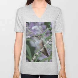 Ms. Hummingbird's Break Time in Mexican Sage Unisex V-Neck