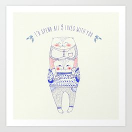 nine lives cat Art Print