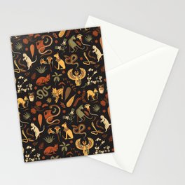 Egyptian house guardians | black Stationery Cards