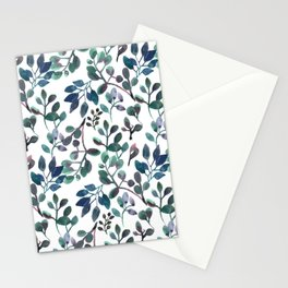 Jade and Succulent Watercolor Plant Pattern Stationery Cards