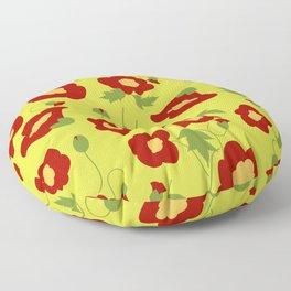 Papercut Poppies - Chartreuse Floor Pillow