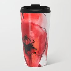 Red Poppy Watercolor Painting Travel Mug