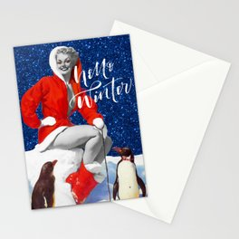 Hello Winter   Vintage Pin Up Girl Winter Collage Stationery Cards