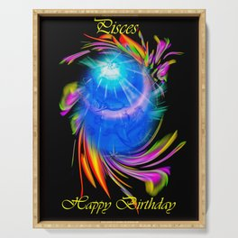 Zodiac sign Pisces - Happy Birthday Serving Tray