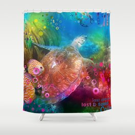 Sea Turtle In Living Color Shower Curtain