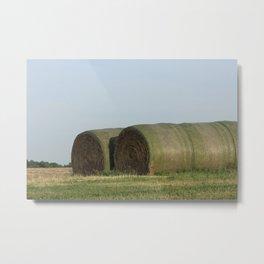 Kansas Hay Bales in a Field Metal Print