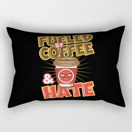 Fueled By Coffee And Hate - Funny Coffee Lover Illustration Rectangular Pillow