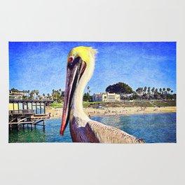 """Soak up the Sun"" quote cute California beach pier pelican Rug"