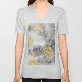 CHERRY BLOSSOMS AND YELLOW ROSES Unisex V-Neck