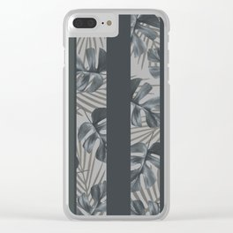 Silver Monstera Stripes Pattern Clear iPhone Case