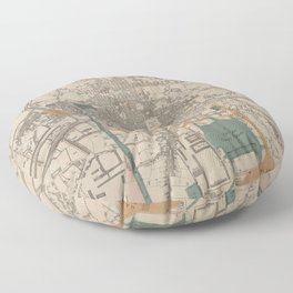 Vintage Map of Rennes France (1861) Floor Pillow