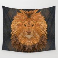 the lion king Wall Tapestries featuring King Lion by ArtLovePassion