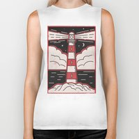 lighthouse Biker Tanks featuring Lighthouse by Andy Rogerson
