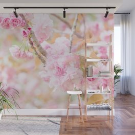 double cherry blossoms in japanese garden Wall Mural