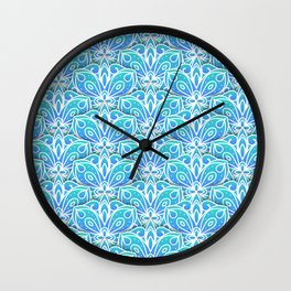 Decorative Layers of Blue Flowers Wall Clock
