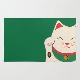Green Lucky Cat Maneki Neko Rug