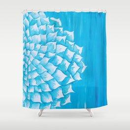 Aqua Watercolor Succulent Shower Curtain