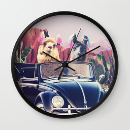 Llamas on the road Wall Clock