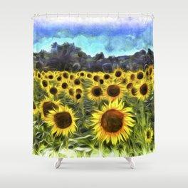 Sunflower Field Vincent Van Goth Shower Curtain