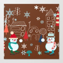 winter fun brown Canvas Print