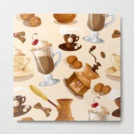 Coffee and Cookie Pattern Metal Print