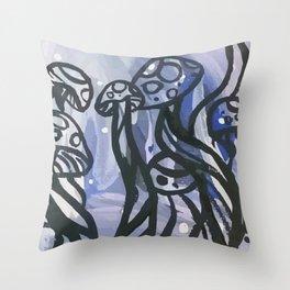 Happy Lil Mushrooms Throw Pillow