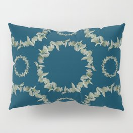 Eucalyptus Patterns with Navy Blue Background Realistic Botanic Patterns Organic & Geometric Pattern Pillow Sham