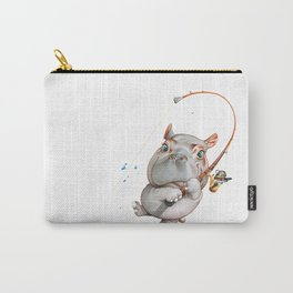 A hippopotamus fishing Carry-All Pouch
