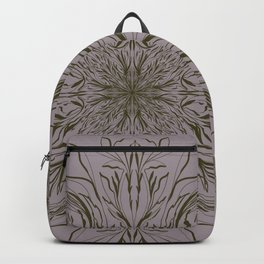 Fancy Baroque Pattern in Olive Green and Purple Backpack
