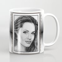 angelina jolie Mugs featuring Angelina Jolie in 2005 by JMcCombie
