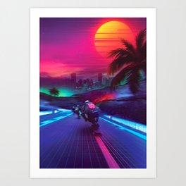 Synthwave Midnight Outrun Kunstdrucke