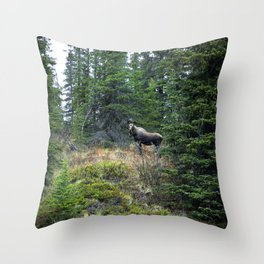 Mr. Moose Way Up North Throw Pillow