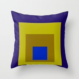 Blue and Yellow Squares Throw Pillow