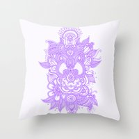 henna Throw Pillows featuring Purple Henna by haleyivers