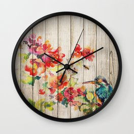Spring on Wood 04 Wall Clock