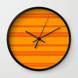 Halloween Orange Horizontal Stripes Wall Clock