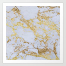 Awesome trendy modern faux gold glitter marble  Art Print