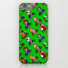 Super Mar!o Kart heroes | greengrass || retrogaming pattern iPhone Case