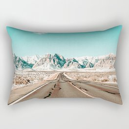 Vintage Desert Road // Winter Storm Red Rock Canyon Las Vegas Nature Scenery View Rectangular Pillow