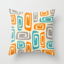 Mid Century Modern Cosmic Abstract 740 Orange Blue and Gray Throw Pillow