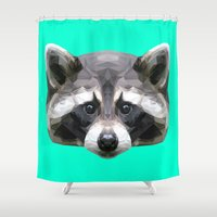 rocket raccoon Shower Curtains featuring Raccoon // Mint by peachandguava