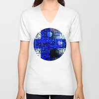 finland V-neck T-shirts featuring circuit board Finland by seb mcnulty