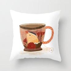 Goldfinch Teacup Throw Pillow