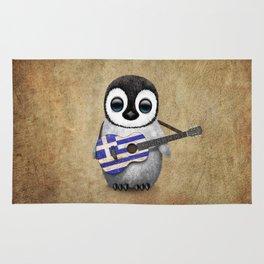 Baby Penguin Playing Greek Flag Guitar Rug