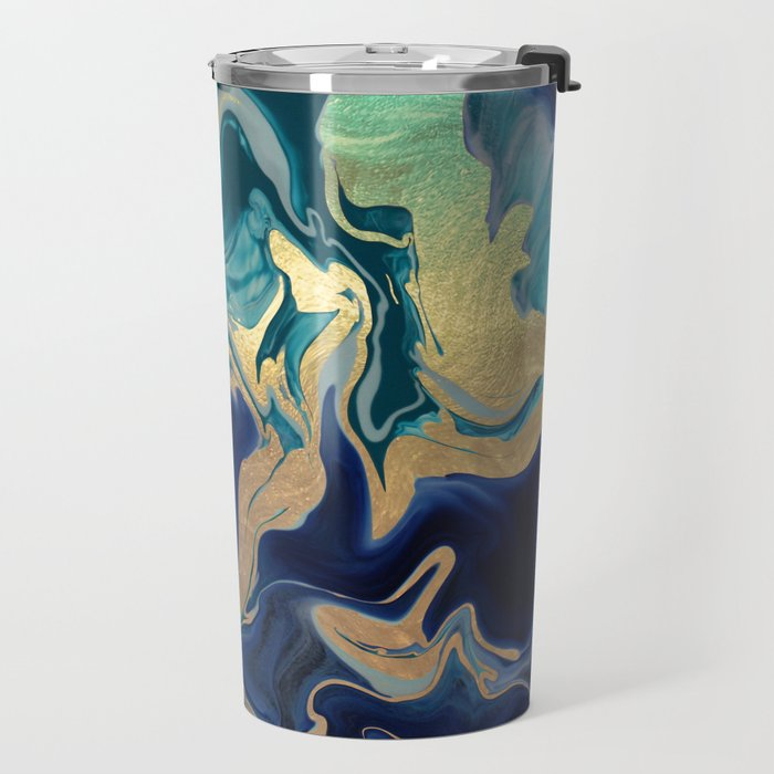 DRAMAQUEEN - GOLD INDIGO MARBLE Travel Mug