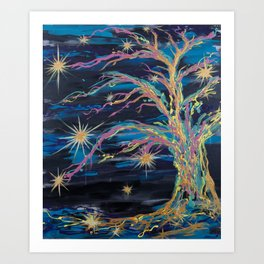 Star Growth - Abstract Tree & Stars Painting Art Print