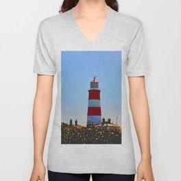 Happisburgh Lighthouse portrait Unisex V-Neck
