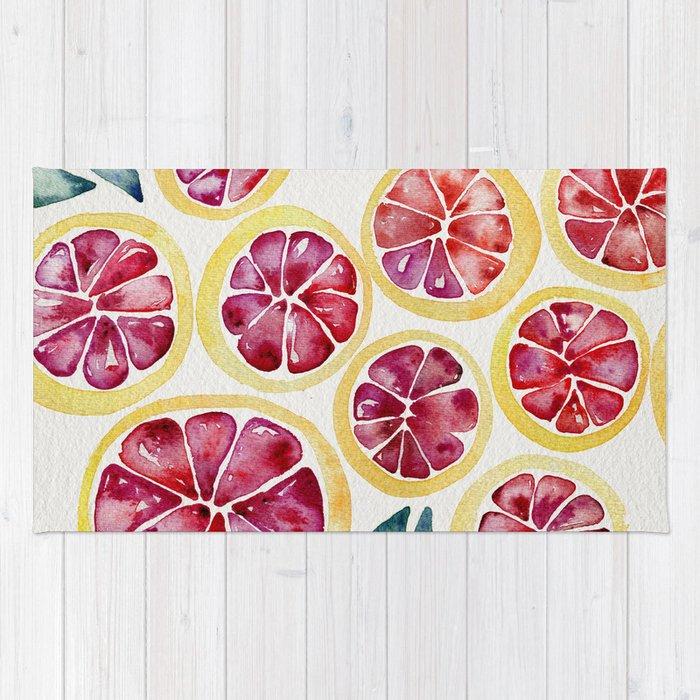 Sliced Grapefruits Watercolor Rug