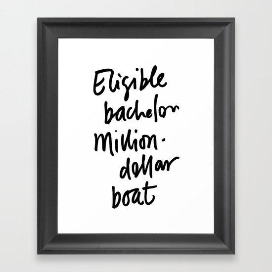 Eligible Bachelor (invert) Framed Art Print