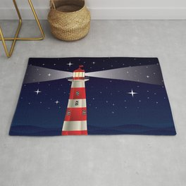Cartoon landscape with lighthouse night sea and starry sky Rug